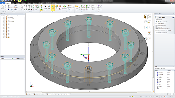 SpaceClaim 2012+ adds a new Radial Move tool. In this imported assembly containing a hole pattern with bolts, one selection is all that's needed to move the location of the holes radially, along with each instance of bolt.