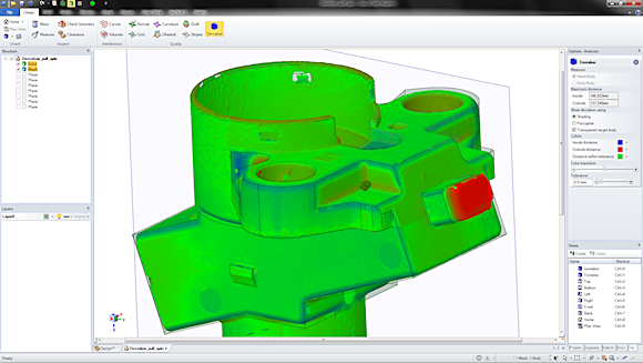 SpaceClaim 2012+ includes new mesh-remodeling capabilities, such as the ability to compare a solid to a scan.  This technology is useful when recreating models from scan and STL data, as well as to compare scans of produced parts to as-designed parts.