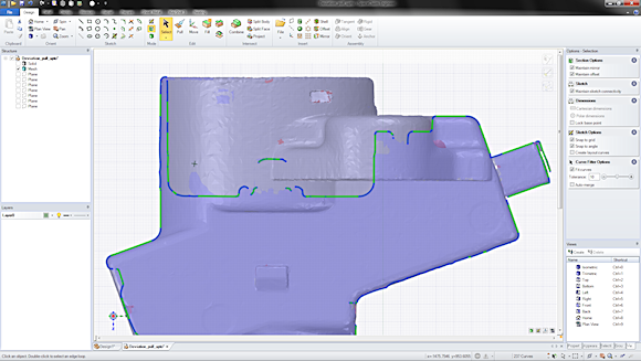 When remodeling parts from a mesh, it is often convenient to create curves through the mesh.  SpaceClaim 2012+ automatically fits curves through any arbitrary cross section, fitting lines, arcs, and splines as desired to the desired level of granularity.
