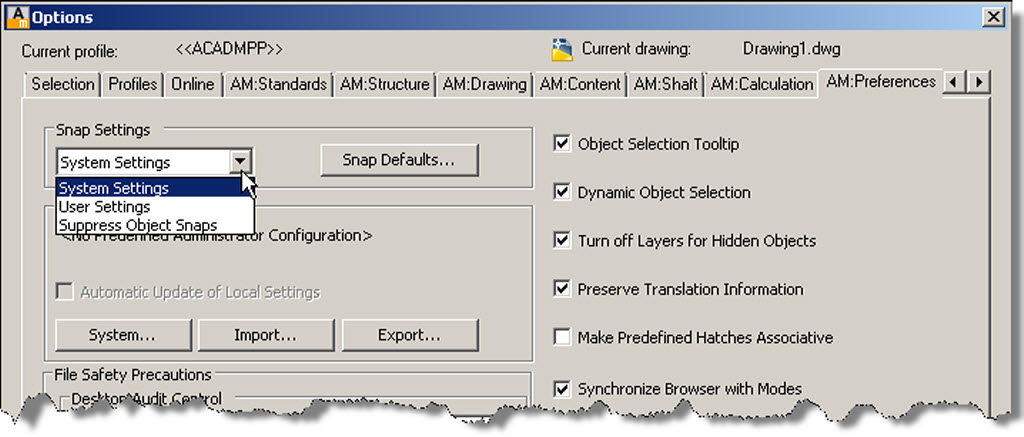 how to snap move settings autocad