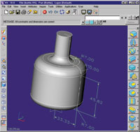 Figure 1. Using the 3D Design Optimizer included in VX CAD/CAM v10, you can automatically drive dimension parameters to achieve a target parameter, such as volume.