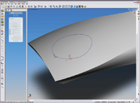 Figure 4. SolidWorks 2005 lets you sketch a spline (curve) directly on any surface so you can better visualize how the curve will appear on a model.