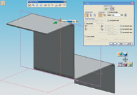 Figure 3. Users familiar with Solid Edge will recognize many of NX 3 s new sheet-metal commands. This image also shows something unique throughout NX compared with other major mechanical CAD programs-the ability to right-click anywhere on the screen and have a related set of tools pop up, as seen below the Jog dialog box on the right.