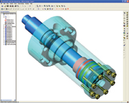 Figure 1. This hydraulic cylinder assembly modeled in Alibre Design 8.0 shows Alibres modeling ability.