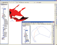 Figure 4. Complex 3D sketch tools in Alibre Design 8.0 are used here to model a motorcycle faring.