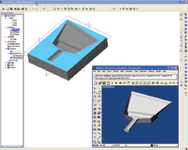 Figure 5. Users can import free-form surfaces from other programs, such as this surface model from Rhino3D that was used to trim a solid in Alibre Design 8.0.