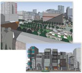 Figure 4. SketchUp supports static bit-map formats, including JPG, TIF, and the EPIX format for processing in Piranesi. This image was created by Tyrrell, Nutter, and Moore as part of its winning entry, New Herald Square (<a href=
