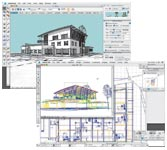Figures 9 and 10. This original building was modeled in SketchUp 3 and then imported into Graphisoft's ArchiCAD 8.0.