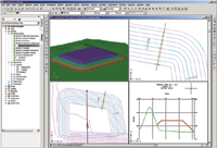 Figure 2. Grading objects in Autodesk Civil 3D allow dynamic updating of contours, earthwork volumes, section views, and annotation.
