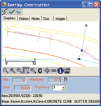 Figure 5. During inspection, measurements made by GPS or by specifying station/offset locations are depicted graphically and represent as built conditions in Bentley's handheld application