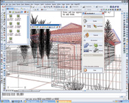 "AutoCAD 2005 with the basic AccuRender 4 ""top level"" menu, the AccuRender toolbar, and an open dialog box for the plant libraries."