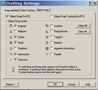 Figure 2. If you use running object snaps, you can tailor them in the Drafting Settings dialog box.