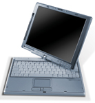 The Fujitsu LifeBook T3000 Tablet PC also functions as a conventional notebook computer.