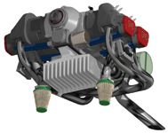 Figure 1. This helicopter engine was designed in VX CAD/CAM by Masquito Aircraft (<a href=
