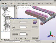 Figure 2. This image shows the setting up of the loads, with the Surface Loads dialog box displayed in the lower right. In this portion of the program, simple sketching, modeling and structured meshing tools are also available to create geometry from scratch or add FEA geometry to the base CAD model.