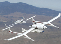 Figure 1. The White Knight turbo jet, seen here in flight over the Mojave, California, area, is SpaceShipOne's launch aircraft. (Photos courtesy of Scaled Composites, LLC.)