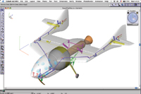 Figure 3. A rendering by Ashlar staffers shows what some of the design elements of SpaceShipOne might have looked like in Cobalt 3D surface and solid modeling software.