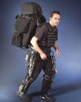 Figure 2. The design for the next generation of the BLEEX Exoskeleton calls for a thigh assembly that will be part hydraulics, part structure and part electronics to give the wearer a more natural motion for stooping and bending. The exoskeleton allows users to bear heavy weights with ease—for example, making a 70lb load feel like 5lb.