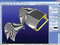Figure 2. Designer Modeling 2005 has zebra surface analysis that provides the ability to inspect a models surface for face-to-face continuity and overall quality.