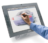 "Figure 2. Like a Tablet PC, the Wacom Cintiq tablet lets you sketch right on the screen. What the Tablet PC offers in portability, the Cintiq matches in sheer size. The Cintiq comes in 17"" and 21"" displays."