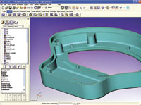 Figure 1. VX CAD/CAM v11's redesigned interface includes a new data manager (far left) that combines the History, Assembly, Layer and View managers into one tab-deck design.