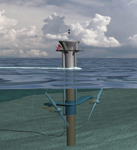 Figure 1. Marine Current Turbines Ltd.'s sea-powered turbines operate on the same principle as wind turbines, using underwater currents instead of the wind to generate renewable energy. Eventually the existing prototype Seaflow, a single-rotor turbine capable of producing 300 kilowatts, will be replaced by Seagen (shown here), a double-rotor unit capable of producing 1 megawatt of power.