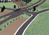Figure 3. Eagle Point's Intersection Design software uses the initial designs from RoadCalc and then employs a planimetric site design approach to finalize pavement cross-slopes, island and median designs, and water flowlines into a surface model. Shown here is a rendered picture of an Intersection design.