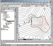 Figure 1. Civil 3D presents a familiar AutoCAD-based interface.