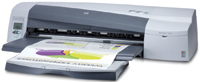 "The HP Designjet 100-plus tabletop printer handles 18"" X 24"" single sheets up to 24"" X 64""."
