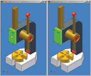 Figure 3. Likewise, Vault users can access the current version of an assembly (left) or an earlier one (right).