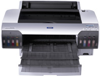 "The Stylus Pro 4000 from Epson is a desktop printer that handles media up to 17"" wide."