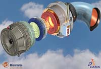 Figure 3. CATIA  rendering capabilities are on display in this model of a MicroTurbo jet engine. MicroTurbo, part of the SNECMA group, runs 42 seats of CATIA V5 in conjunction with the SMARTEAM product data management product. Image courtesy of Microturbo.