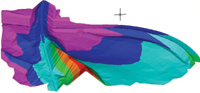 Figure 3. 3D models display contours with banding to show elevation ranges.
