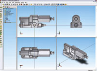 Figure 2. Users can now split the SolidWorks window into two or four viewports that are linked for panning, zooming and dragging of their designs.