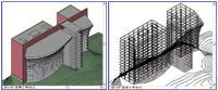 Figure 3. When an engineer receives a Revit Building model (left), the first step is to link it to a Revit Structure model (right).