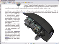 Adobe Acrobat 7.0 Professional with a PDF file open that contains a U3D drawing of a turbine that users can rotate in 3D or run as a continuous animation. Layers can be turned on or off to show airflow.
