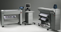 The Océ TCS400's print component can be configured with one to three rolls of different-sized media.