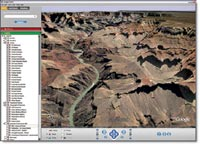 Figure 1. Google Earth simulates 3D terrains by draping 2D imagery over a wire-frame of the world's geography. This method produces better results in certain areas, such as the Grand Canyon, with well-defined contours.