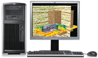 The HP xw9300 includes the NVIDIA FX 3450 graphics card, which keeps its price low compared with other workstations in this review.