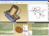 One of our test models opened in Lattice3D Publisher where exploded views and parts lists can be easily generated.