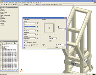 Figure 4. The Frame Generator in Inventor 11 streamlines the design of welded structural frames. Design and development of structural frames is fast with tools that automate the placement of predefined structural shapes and simplify creation of end conditions and welded joint cleanup.