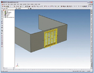 Figure 3. Assembly features can be made very smart indeed. When you add a door to a wall, the feature can know that it needs a hole cut. IronCAD 9 cuts the hole and, if you want it to, even pushes the cut down into the component wall file.