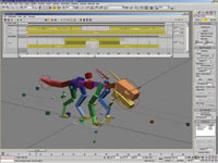 In 3ds Max 8, animation clips can be loaded in the Motion Mixer to provide nonlinear animation editing for any 3ds Max rig
