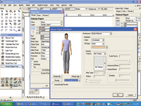 Figure 3. VectorWorks v12 adds the ability to pose a human figure. Note the options for positioning, clothing and so forth.