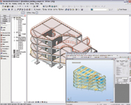 Figure 1. Model in Revit Structure 3 and Robot. Revit Structure can link bidirectionally to several popular analysis applications.
