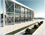 Figure 1. Rendering of a proposed conference center was created in Revit Building 9.1.