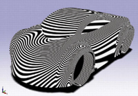 Figure 3. Applying zebra stripes to a model shows how its surface smoothness affects light. Car makers use this trick all the time, as do manufacturers of everything from cell phones to medical devices.