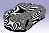 With KeyCreator, users can apply zebra stripes to a model to determine how its surface smoothness affects light.