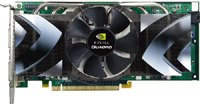 NVIDIA ;s new Quadro FX 5500 ultrahigh-end PCIe graphics card has 1GB of onboard GDDR2 memory, a stereo connector and two dual-link DVI-I outputs.