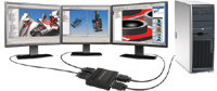 Matrox TripleHead2Go lets users attach three monitors to a desktop or laptop computer.
